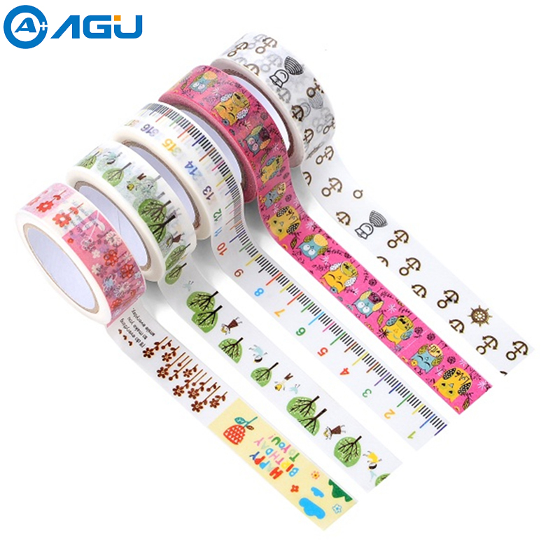 AAGU 1PC 15mm*10m Black Cat Washi Tape Cute Style Creative Self Adhesive Masking Tape Various Patterns Paper Tape aagu new arrival 1pc 15mm 10m musical note fresh floral washi tape strawberry sticky adhesive tape various patterns masking tape