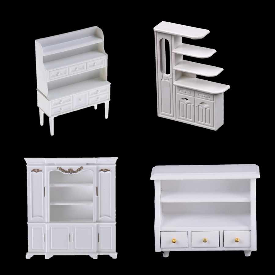 Dollhouse Mini Cabinet Model Chest Cupboard Shelf White Cabinet Kitchen Dining Display Display Doll House Kitchen Accessories