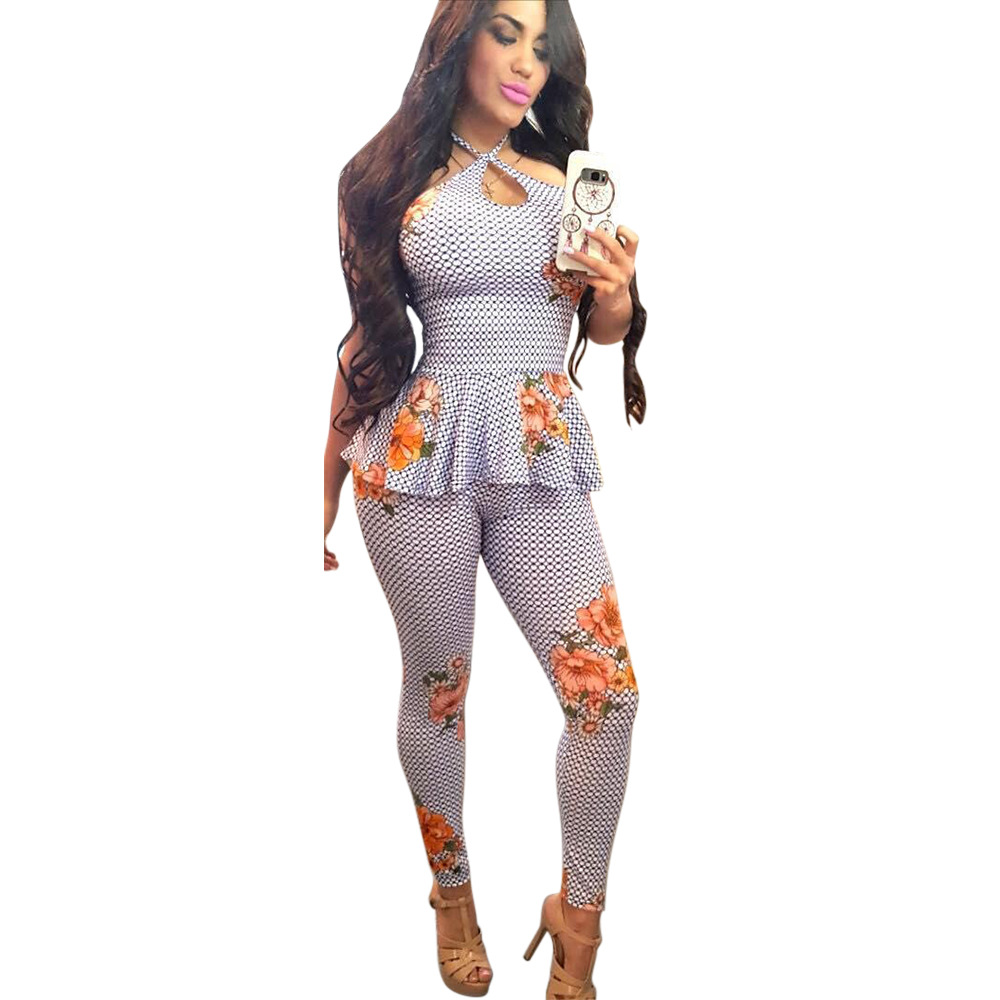 Spring Summer Women Two Piece Set Top And Pants Plus Size Outfits Tracksuit Sweatsuit Plaid Ruffles Floral Print Sets