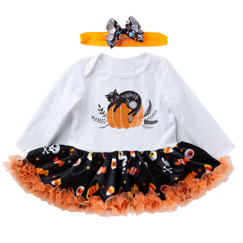 Us 9 96 33 Off Infantil Funny Rompers Dresses Girls Boys Halloween Costume Kids Baby Pumpkin Jumpsuits Dress 2pcs Set Newborn Baby Girl Clothes In