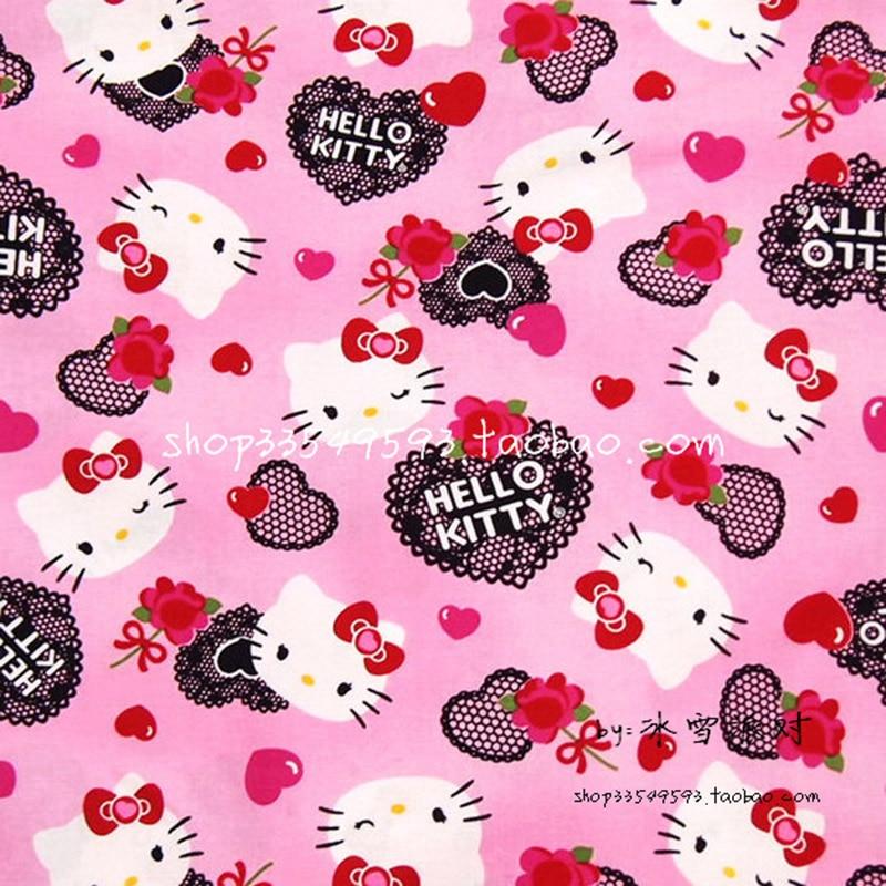 Ені 140см қызғылт 100% мақта мата Hello Kitty Heart Lace басылған мата Patchwork Тігін материалы Ди үшін балалар киімі