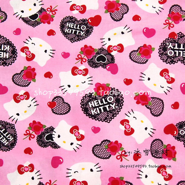 57a1cb40a Width 140cm Pink 100% Cotton Fabric Hello Kitty Heart Lace Printed Fabric  Patchwork Sewing Material For Diy Children's Clothing