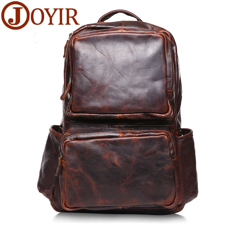 JOYIR 2016 NEW Man Backpack Travel Bag Fashion Wax Oil Genuine Leather Solid Zipper Large Bag For Male laptop backpack B278 100% genuine leather men backpack large capacity man travel bags high quality male business bag for man computer laptop bag