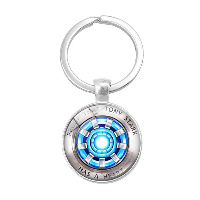 Homem de ferro Arco Reator de Vidro Cúpula Pingente Chaveiro Prova Que Tony Stark Tem UM Coração presentes Jóias de Prata do Metal Chave titular cadeia