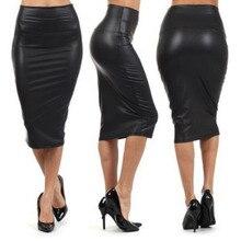 Черная кожаная юбка, зима-осень, женская, плюс размер, миди, искусственная кожа, юбки-карандаш, Женская юбка с высокой талией, офисная кожаная юбка
