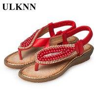 ULKNN Kids Sandals Children Shoes For Girls Red Beading Crystal Slip on Summer Beach Sandals Roman Wedge Shoes Baby Female