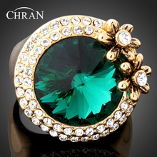 Chran Unique Design Green Stone Promised Rings for Women Wholesale Gold Color Crystal Flower Wedding Jewelry