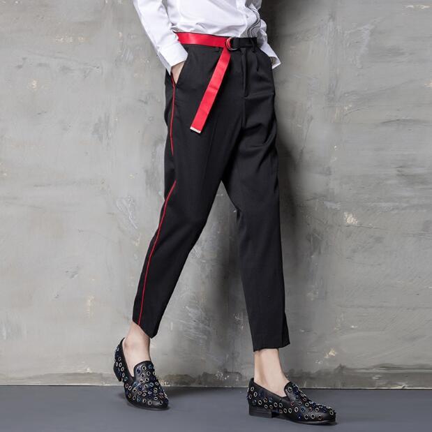 M ~ 3xl 2019 Dei Nuovi Uomini Di Hair Stylist Di Moda Gd Abbigliamento Casual Pantaloni Casuali Di Occidentale-stile Pantaloni Versione Coreana Di Colore Della Fascia Nove Piedi Pantaloni