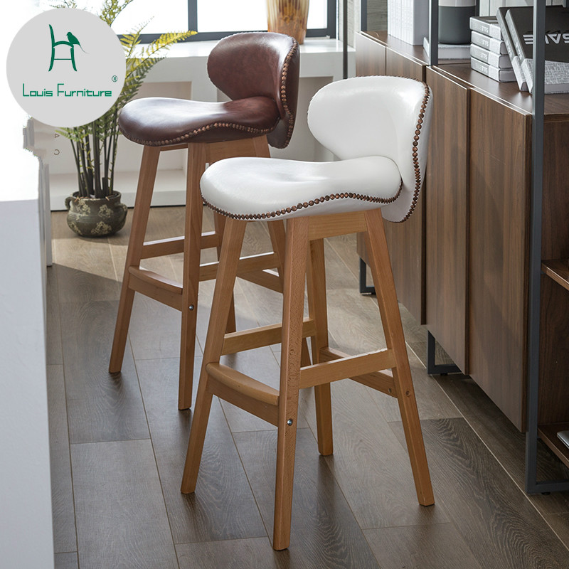 Fashion Creative Bar Stool Lifting Chair Swivel Bar Chair Fashion Linen Solid Wood High Stool. Bar Furniture