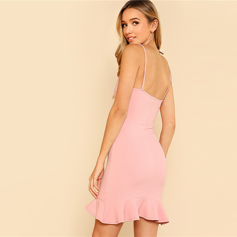 af26d4c29ef SHEIN Sexy Pink Pastel Party Preppy Ruffle Asymmetrical Backless Flounce  Hem Open Back Summer Dress Women Cami Mini Dress