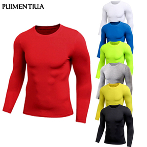 Puimentiua Spring Men's Pure Color Sports Tight Elastic Sweating Quick Drying Long Sleeved Shirt Compression Fitness Shirt 2019