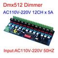 AC110V-220 Высокое напряжение 50 Гц 12 каналов диммер 12CH DMX512 декодер 5A/CH DMX светодиодный диммер для ламп накаливания светодиодные лампы освещения