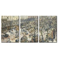 Camille Pissarro 3 Panel World Famous Painting Reproduction on Canvas Wall Art Boulevard des Italiens, Morning, Drop shipping