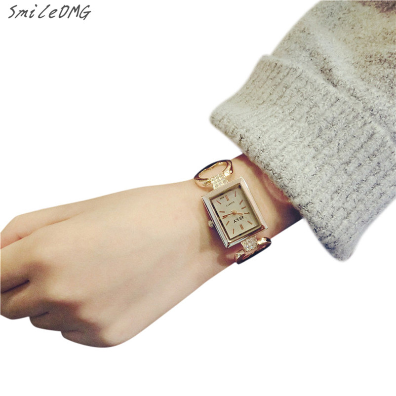 SmileOMG 2016 Fashion Women Watch Female Bracelet Rectangular Fashion Temperament Watch Free Shipping,Oct 25 smileomg hot sale fashion women woven bracelet watch christmas gift free shipping sep 15