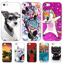 купить For Case Apple iPhone 5 5S SE Cover Silicone Funda For iPhone 5 5S Case Dog Cat Coque For iPhone SE Case iphone5 iphone5s cases по цене 62.04 рублей