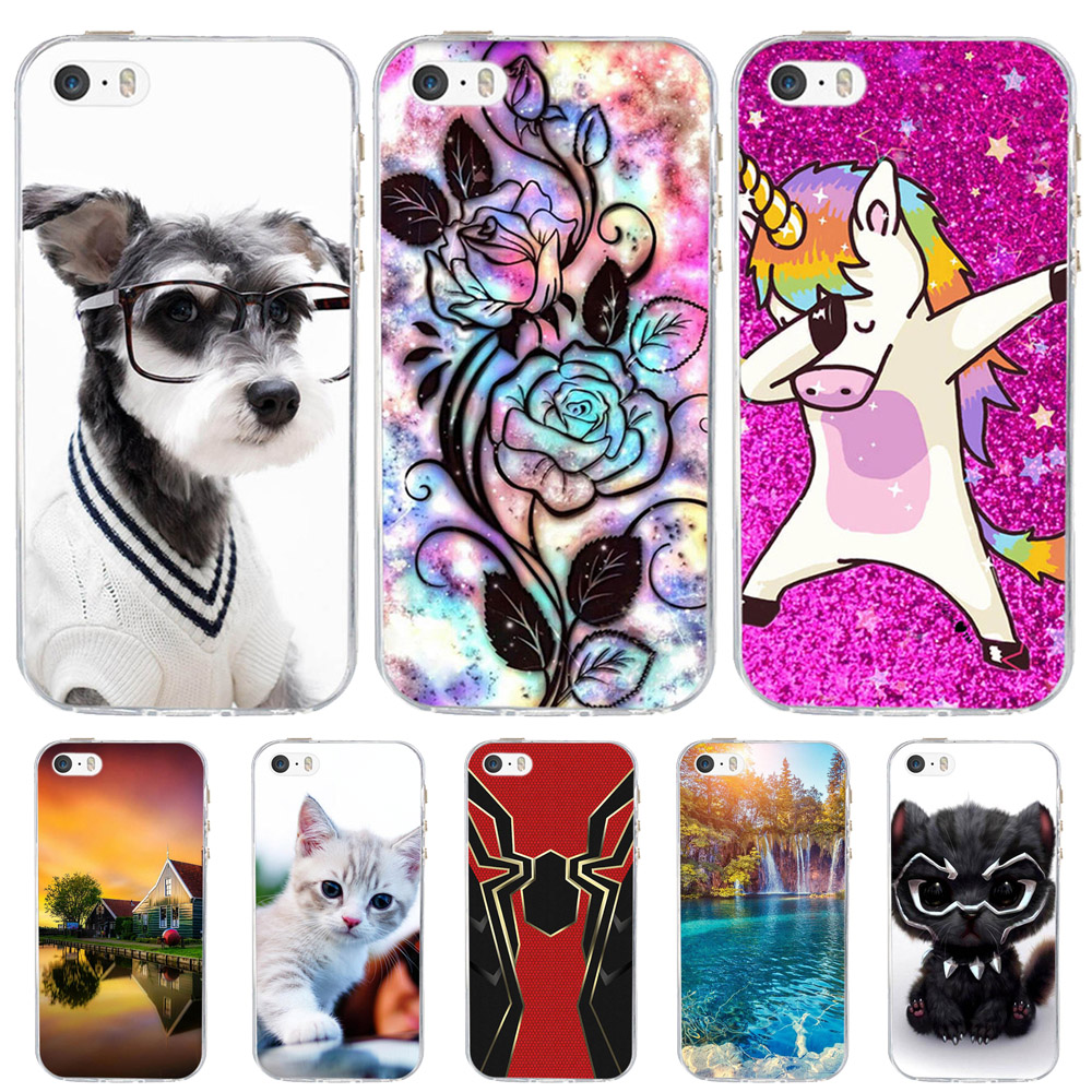be245f1d280 For Case Apple iPhone 5 5S SE Cover Silicone Funda For iPhone 5 5S Case Dog  Cat Coque For iPhone SE Case iphone5 iphone5s cases