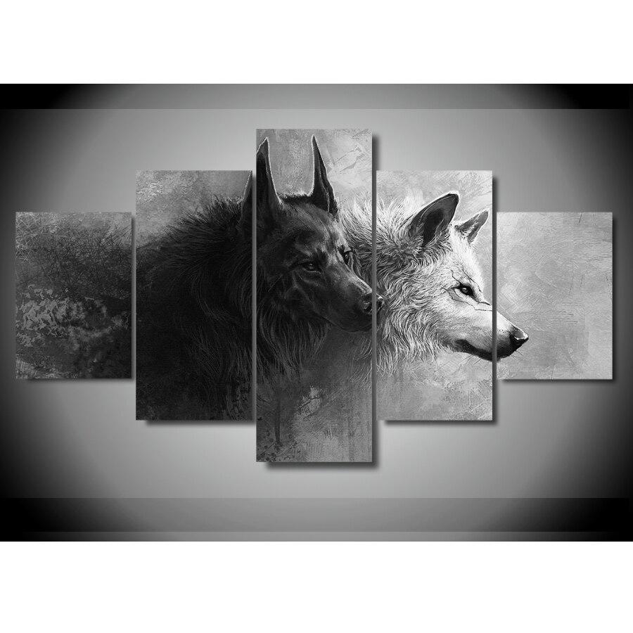 Online-Shop 5 Panels Tier Schwarz und Weiß Wolf Paar Bild Leinwand ...