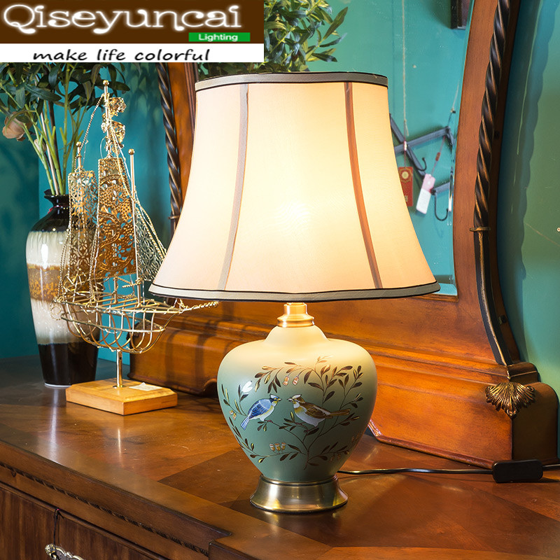 Qiseyuncai 2018 New Chinese style living room ceramic table lamp neo-classical magpie study bedroom bedside lamp table lamp