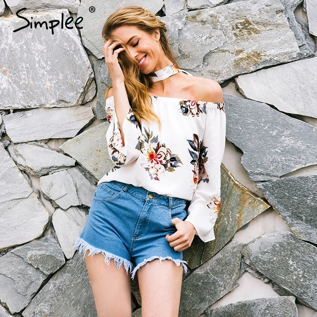 e864d49de6 Simplee Floral print off shoulder chiffon blouse Women tops halter cool long  sleeve female blouse shirt Sexy loose white blusas