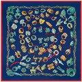 Sarga De Seda nueva Bufanda de Las Mujeres 130*130 cm Euro Diseño de Muchos anillo de Estilo de Impresión de Seda Bufandas Cuadradas de Regalo de Moda de Alta Calidad chales