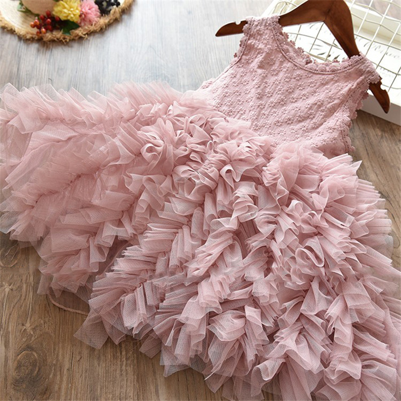 Princess Lace Flowers Girls Dress Kids Birthday Party Wear Toddler TuTu Girls Dresses Girl Clothing Kids Baptism Clothes 5790 palace style red lace toddler princess party girls dress layers tutu kids dresses for girls wholesale baby girl clothes lot