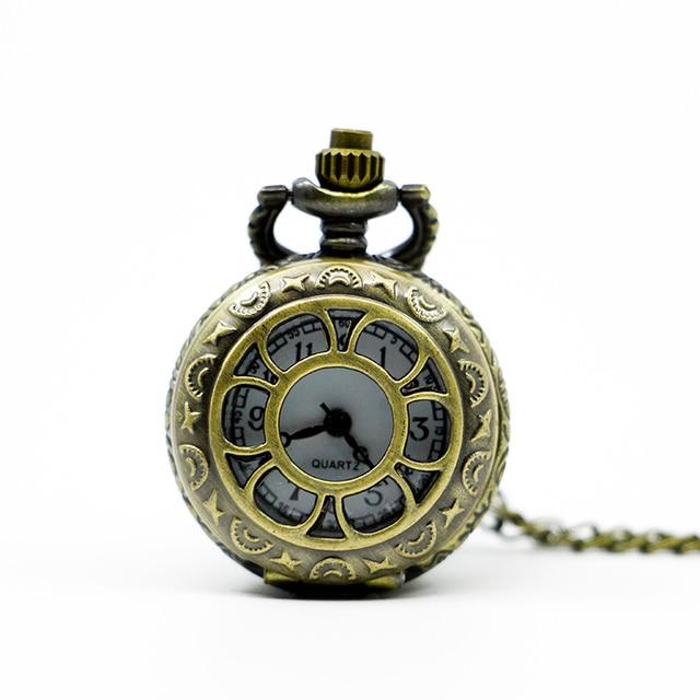 Retro Design Small Pocket Watch Alice in Wonderland Pendant Charm Drink Me Neckl