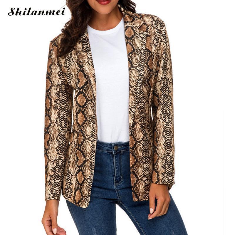 2019 Fashion Snakeskin Print Women Blazer Long Sleeve Suit Coat Streetwear Snake Print Blazer Women'S Suit Top Women Clothing