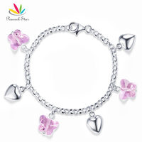 Solid 925 Sterling Silver Pink Butterfly Hearts Bracelet Baby Kids Girl Gift Children Jewelry CFB8004