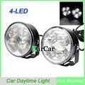 1 Пара 4 LED Круглый Автомобилей Дневного Света, 12 В Универсальный DRL Вождение Лампа Комплект Противотуманных фар Лампы