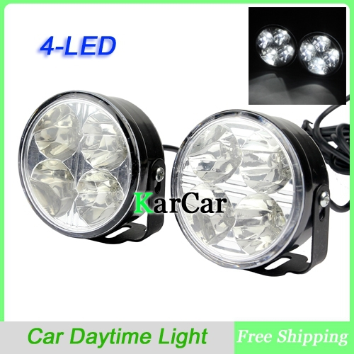 1 Pair 4 LED Round Car Daytime Running Light, 12V Universal DRL Driving Bulb Kit Fog Light Lamps 4in1 daytime running light 12v 12w led car emergency strobe lights drl wireless remote control kit car accessories universal