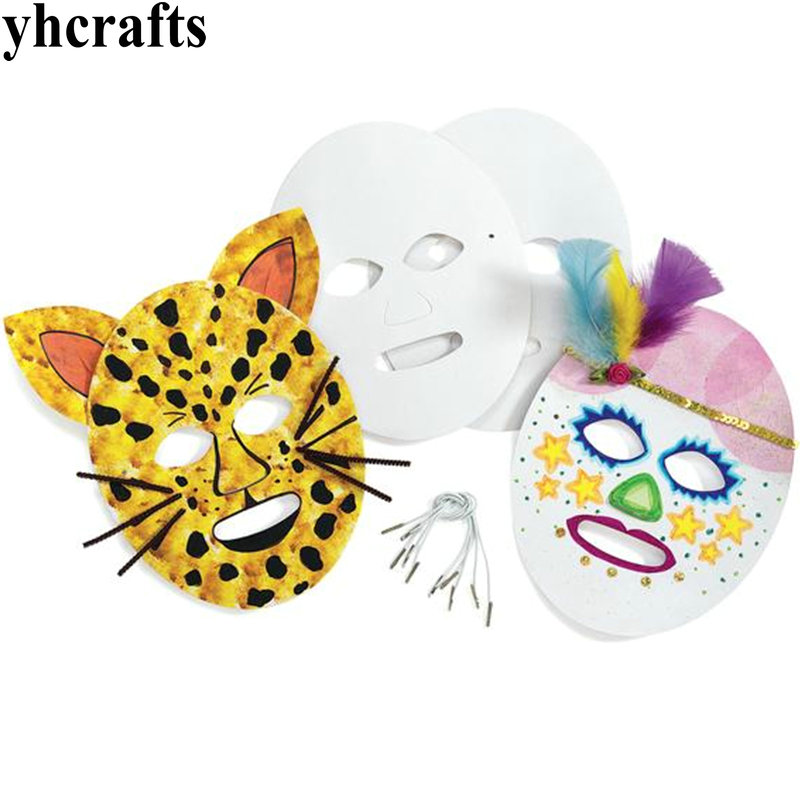 24PCS LOT Paint unfinished paper mask Paper crafts Drawing toys Early learning educational toys Kindergarten arts