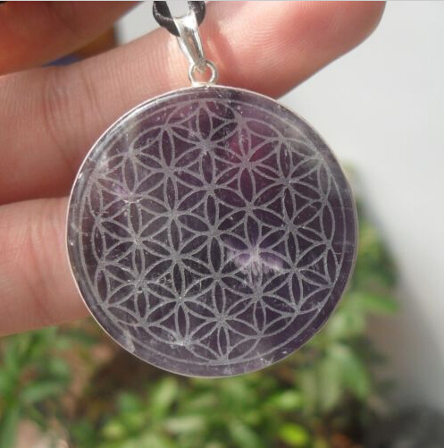 Flower of life amethyst natural quartz crystal silver pendant carved flower of life amethyst natural quartz crystal silver pendant carved healing 19g mozeypictures Gallery