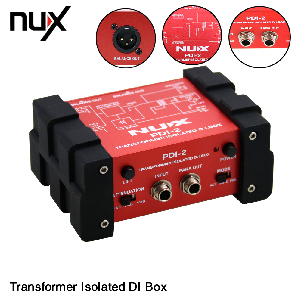 NUX PDI-2 Electric Guitar Bass Direct Transformer Isolated DI Box Audio Box With Switchable Ground Lift nux pmx 2 new multi channel line mixer overload indicator 8 in 2 out mixer fit several audio devices for electric guitar bass