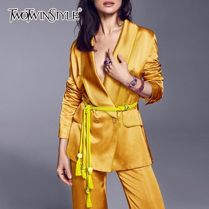Kadın Giyim'ten Kadın Setleri'de TWOTWINSTYLE Lace Up kadın Takım Elbise Uzun Kollu Blazer Mont Yüksek Bel Geniş Bacak Pantolon Iki Parçalı Setleri 2019 Sonbahar moda Stil'da  Grup 1