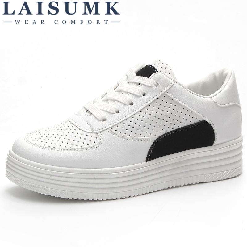 LAISUMK 2018 Spring PU Leather Shoes Woman Comfortable Women Causal White Shoes Ladies Platform Flat Shoes Footwear