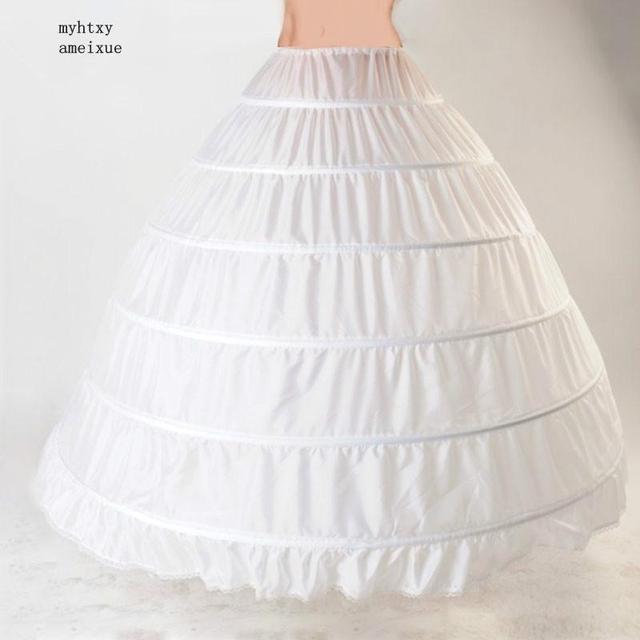 Lace 6 Hoop Petticoat Underskirt Ball Gown Wedding Dress 110cm Underwear Crinoline Wedding Accessories Vestido Longo Woman Cheap