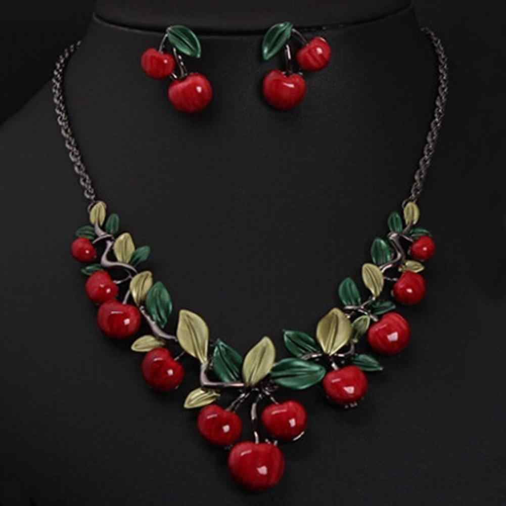 Hot Women 1 Set Vintage Red Cherry Fruit Chic Bridal Necklace Earrings Jewelry Set New