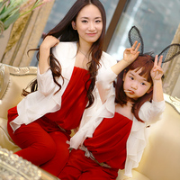 Family Fashion Summer 2013 Chiffon Red Tube Top Jumpsuit Outerwear Clothes For Mother And Daughter