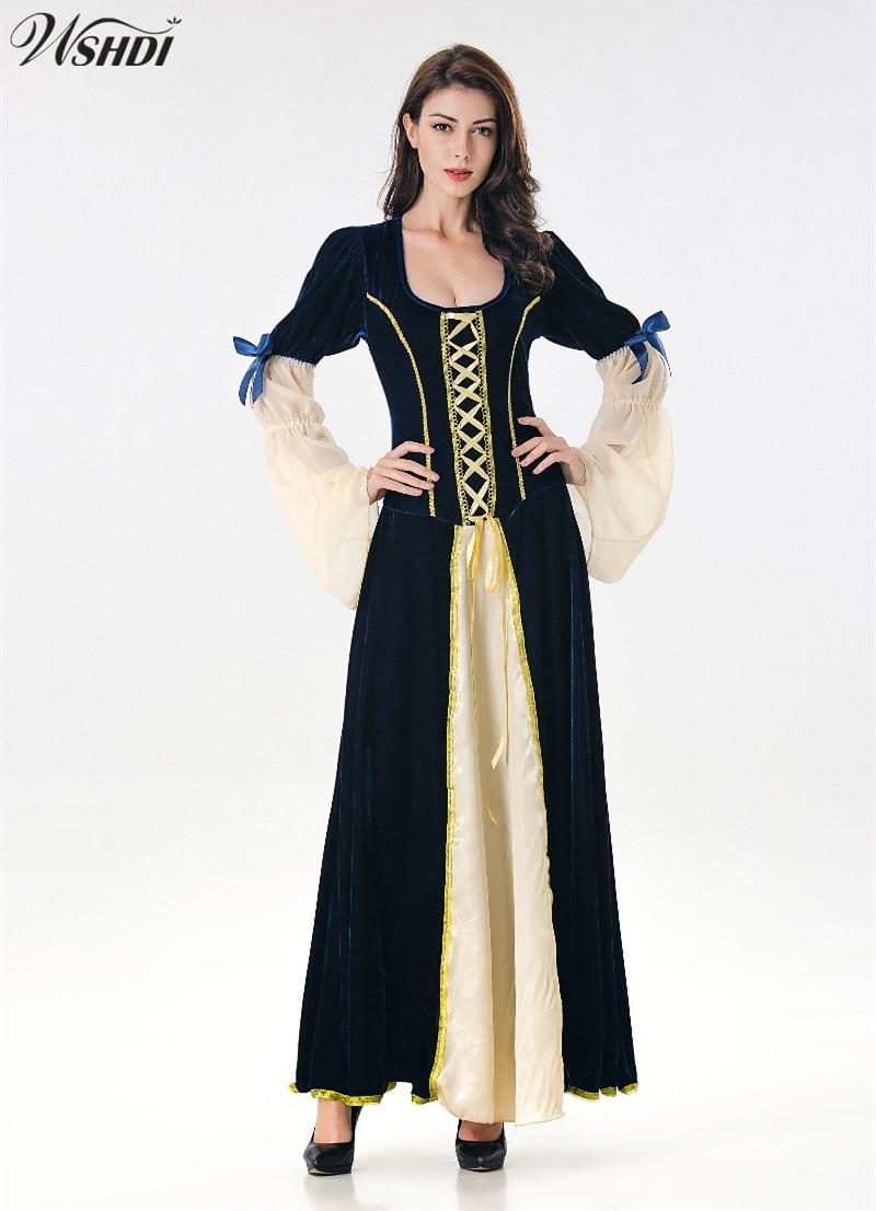 European Retro Dresses Medieval Renaissance Clothing Halloween Party Cosplay Adult Women Medieval Long Dresses Evening Dresses