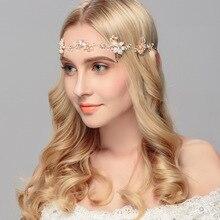 Pérola Headband do Cabelo Folha De Ouro Do Casamento Headpiece Bridal Acessórios Para o Cabelo Do Casamento Da Videira 2016