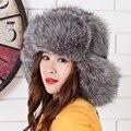 Зима теплая пушистый мех bomber шляпы женщины мужчины unisex уши защиты от ветра снег bomber шапки из искусственного fox меховые шапки multicolors шляпы