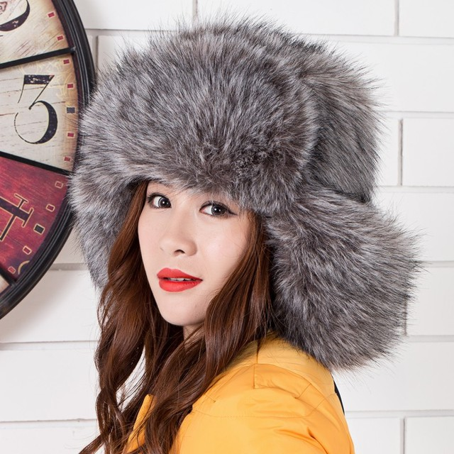 winter warm fluffy fur bomber hats women men unisex ears protection wind snow bomber hats faux fox fur hats multicolors hats