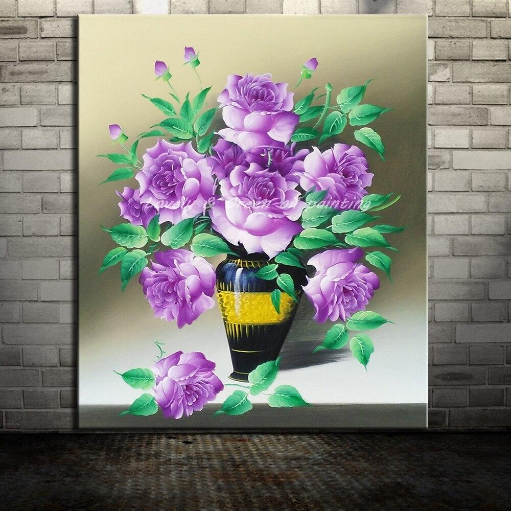 Peintures sans cadre peintes à la main fleurs violettes peinture à l'huile sur toile Art moderne photo pour salon décoration murale