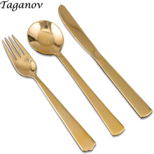 Western 3-piece set Spoon Fork Knife kit Pure copper gold fork knife brass camping cutlery travel dinnerware gifts
