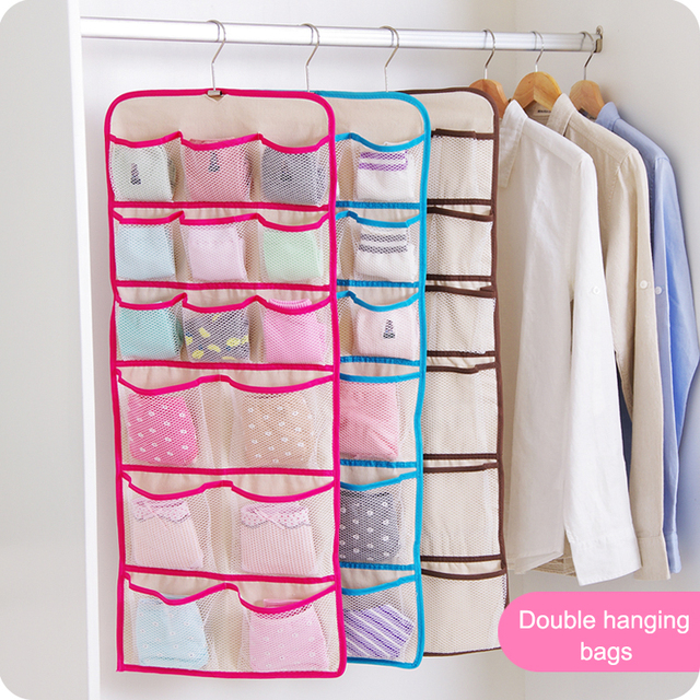 22 Cell Hanging Box Underwear Sorting Clothing Shoe Jean Storage Mails Door  Wall Closet Organizer Closet