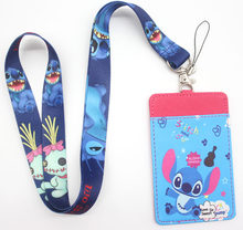 High Quality one cartoon Lilo Stitch Lanyard ID Badge Holder Key Neck Strap Card Bus ID Holders key chain gift #52908(China)