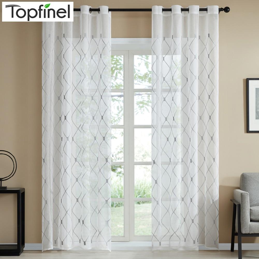 Topfinel Geometric Pattern Design Embroidered White Sheer