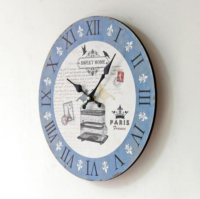 French Pairs Postage Stamp Pattern Vintage Clock 35mm Round Decorative Digital Wall Clock