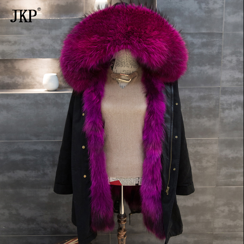2017 New Real Large Raccoon Fur collar Winter Green /Black Jacket Coat Women Thicken Warm Lady Parkas Female Jacket 2017 winter new clothes to overcome the coat of women in the long reed rabbit hair fur fur coat fox raccoon fur collar