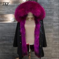 2017 New Real Large Raccoon Fur Collar Winter Green Black Jacket Coat Women Thicken Warm Lady